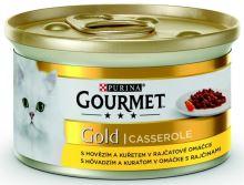 Gourmet Gold cat konzerva hovězí a kuře v rajčatové omáčce 85g
