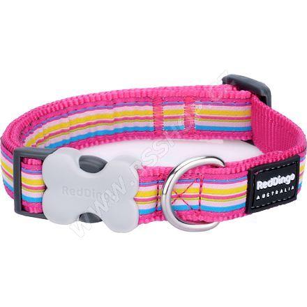 Obojek RD 12 mm x 20-32 cm - Horizontal Stripes Hot Pink