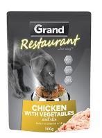 GRAND kapsička deluxe pes Restaurant 100% kuřecí na zelenině 300g