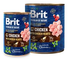 Brit Premium Dog by Nature konzerva Chicken & Hearts 800g