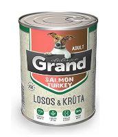 GRAND konzerva pes deluxe 100% losos a krůta adult 400g