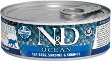 N&D CAT OCEAN Adult Sea Bass & Sardine & Shrimps 80g - 1 + 1 ZDARMA