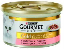 Gourmet Gold konzerva losos a kuře ve šťávě 85g