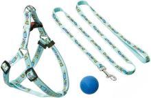 Postroj štěně nylon+vodítko modré KARLIE