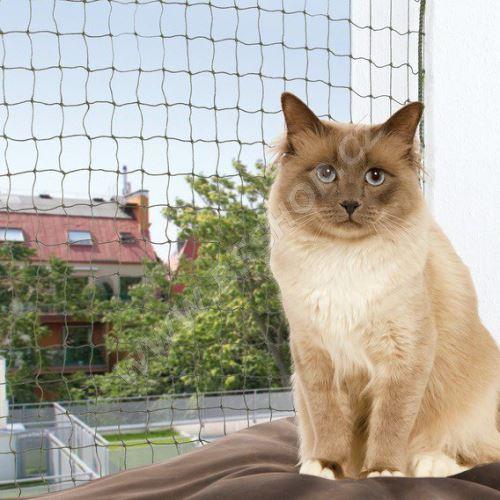 Ochranná síť pro kočky, tkaný drát, olivová