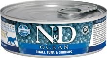 N&D CAT OCEAN Adult Small Tuna & Shrimps 80g - 1 + 1 ZDARMA