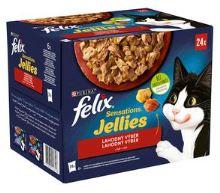 Felix Sensations Jellies s hovězím kuřetem kachnou a jehněčím 24x85g