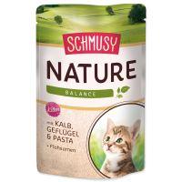 Kapsička SCHMUSY Nature kitten telecí + drůbež ve šťávě 100g