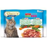 Kapsičky STUZZY Cat šunka s telecím + králík v želé - multipack 400g