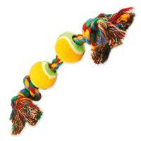 Hračka DOG FANTASY barevná 2 knoty + 2 tenisáky 35cm