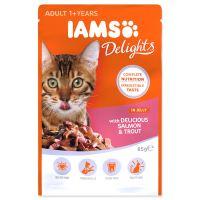 Kapsička IAMS Cat delights losos a pstruh v želé 85g