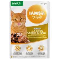 Kapsička IAMS Cat delights kuřecí a krůtí v omáčce 85g