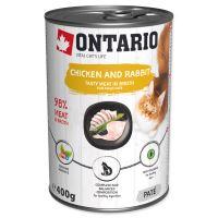 Konzerva ONTARIO s kuřecím a králičím masem a lososovým olejem 400g