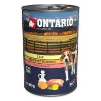 Konzerva ONTARIO s telecím masem, sladkými bramborami, pampeliškovým a lněným olejem 400g