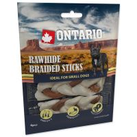 ONTARIO Rawhide Snack Braided Stick Mix 7,5 cm