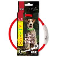 Obojek DOG FANTASY LED nylonový červený S/M 45cm