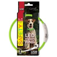 Obojek DOG FANTASY LED nylonový zelený S/M 45cm