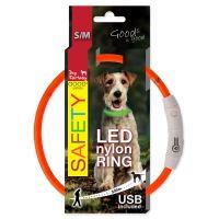 Obojek DOG FANTASY LED nylonový oranžový S/M 45cm