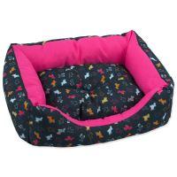 Sofa DOG FANTASY origami pes mix černo-růžové 75x65x19cm
