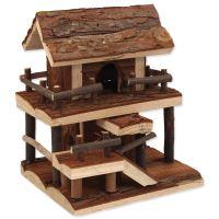 Domek SMALL ANIMAL Dvoupatrový dřevěný s kůrou 17x15x20cm