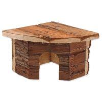 Domek SMALL ANIMAL Rohový dřevěný s kůrou 16x16x11cm