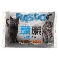 Kapsičky RASCO Cat s lososem a pstruhem/s kuřecím a hovězím 4x100g