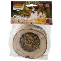 Miska NATURE LAND Nibble plněná bylinkami dřevěná 120g