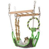 Závěsný žebřík s pelíškem a bavlněným kruhem pro hlodavce