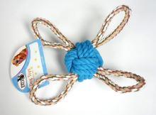 Přetahovadlo míček čtyřstranné 28cm modré