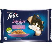 Felix Fantastic Junior kuře a losos v želé 4x85g