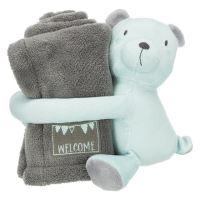 JUNIOR set - deka 75x50cm + plyšový medvídek, šedá/mátová